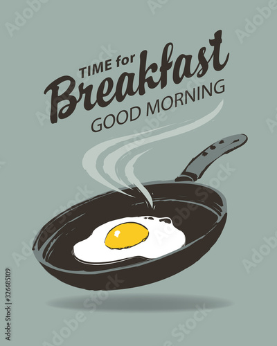 Canvas Print Vector menu or banner on the theme of Breakfast time