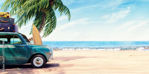 Green car with luggage ready for summer holidays 3D Rendering