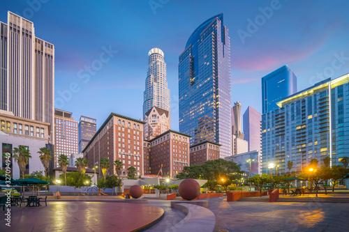 Beautiful sunset of Los Angeles downtown skyline Fototapeta