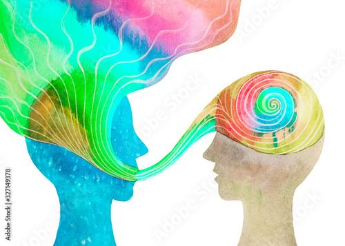 Canvas Print Disegno grafico comunicazione tra due persone