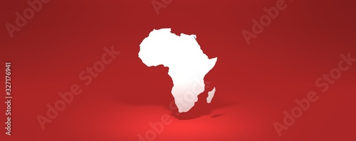 africa modern map 3D rendering red background
