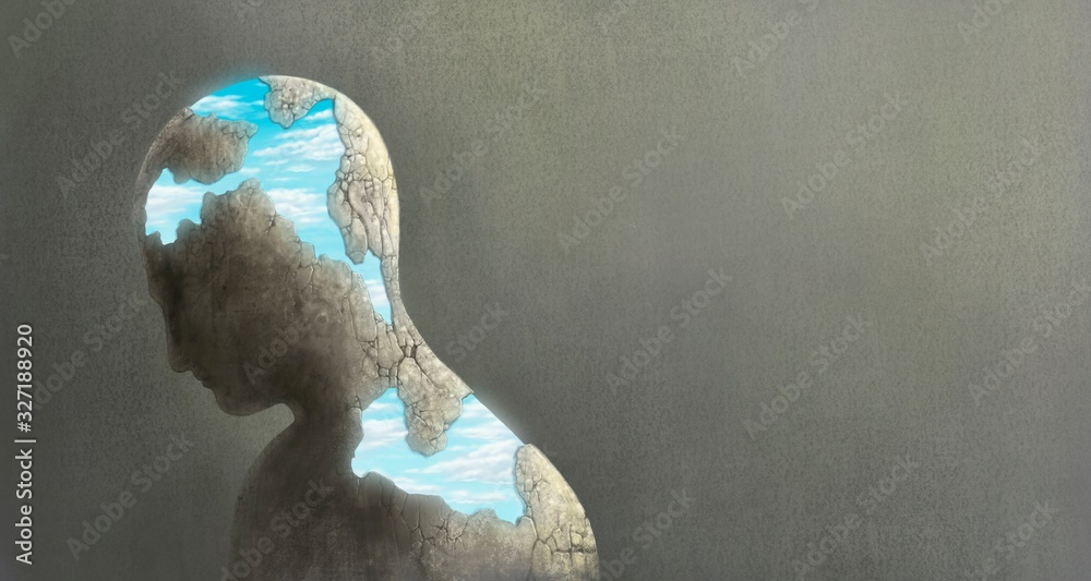 Broken head with the sky, surreal painting <span>plik: #327188920   autor: Jorm S</span>