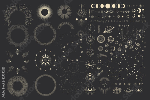 Leinwand Poster Vector illustration set of moon phases