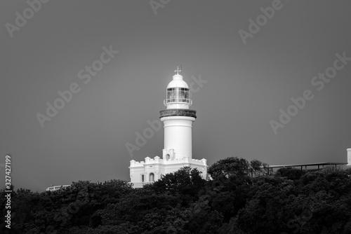 Canvastavla Black and white photo of the Cape Byron Lighthouse