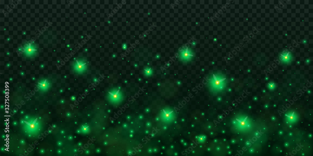 Creative vector illustration of glowing fireflies isolated on transparent dark background. Art design green glowing firefly template. Abstract concept sparks dust element, lightning bugs at night <span>plik: #327508399   autor: happyvector071</span>