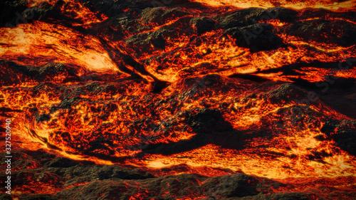 lava field, fiery magma flow, molten rock landscape
