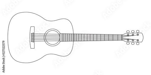 Fotografie, Tablou Acoustic guitar outline silhouette