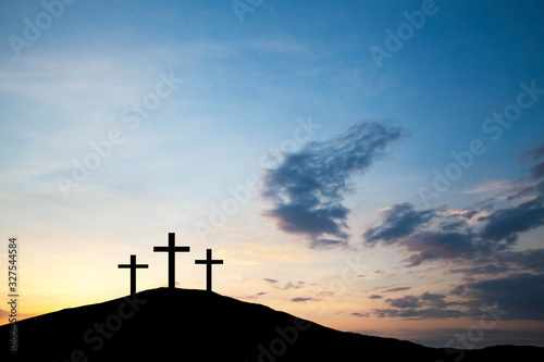 Fotografie, Obraz Three cross on the hill, Jesus Christ from the Bible