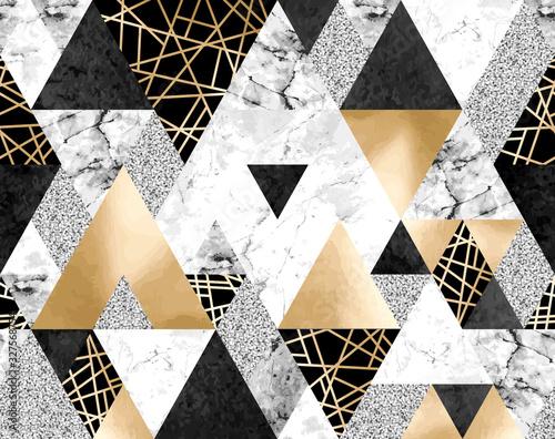 Fototapeta Seamless geometric pattern with gold metallic lines, silver glitter, black water