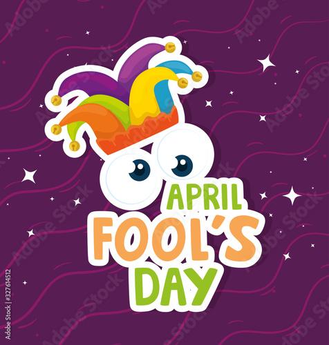 Fotografija april fools day with hat buffoon vector illustration design