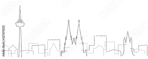 Cologne Freehand Minimal Line Skyline and Landmarks