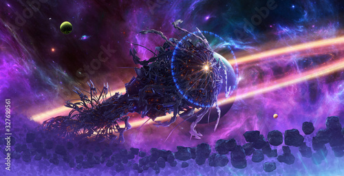 Photo Artistic abstract 3d illustration of an alien spaceship surrounded by asteroids