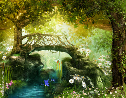 Photo Magical fairy tale forest with an enchanting bridge over a brook