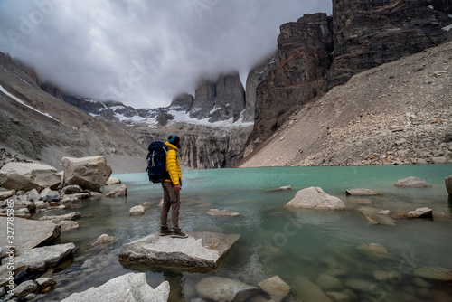 Fotografie, Tablou Hiking scene in Torres del Paine mountains, Patagonia, Chile