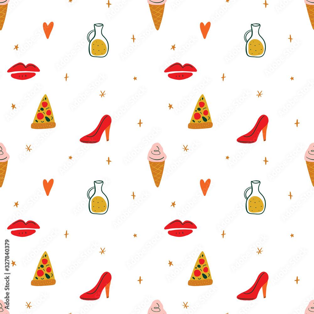 Modern cartoon colorful flat stylized Italian icons symbols seamless pattern, cute illustration. Doodle landmarks concept, food and drinks of Italy. Vector EPS clip art <span>plik: #327840379 | autor: Knstart Studio</span>