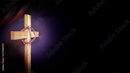 Obraz na plátne Lent Season,Holy Week and Good Friday concepts - photo of wooden cross in purple