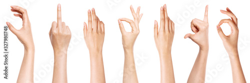 Photo A set of hand gesture isolated on white.