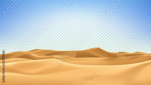 Stampa su Tela Realistic desert landscape isolated on checkered background