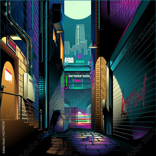 Tela Alley at night cyber punk theme