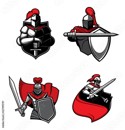Fotografia Knight warrior with sword, helmet and shield, red cape and medieval armour isolated vector icons