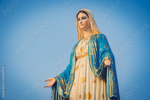 Stampa su Tela Close-up of the blessed Virgin Mary statue figure