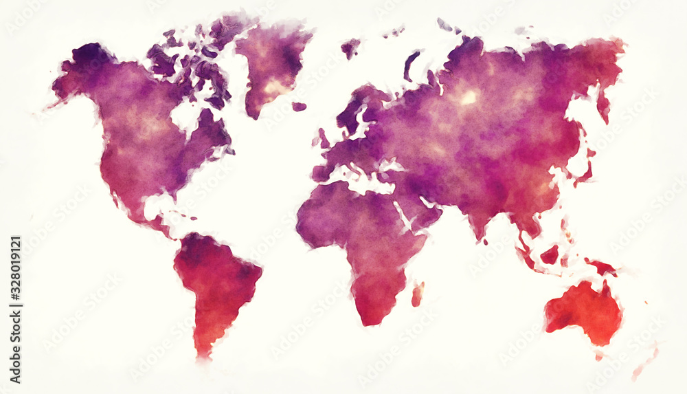 World watercolor map in front of a white background <span>plik: #328019121 | autor: Ingo Menhard</span>