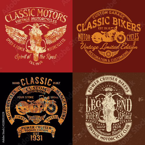 Fotografia Classic vintage motorcycle club vector print collection  for boy t shirt grunge