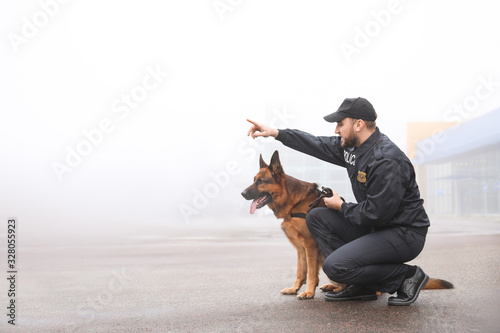 Stampa su Tela Male police officer with dog patrolling city street