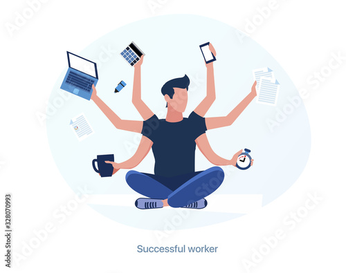 Canvas Print Successful, experienced and productive employee. Multitask worker