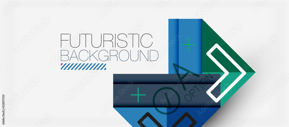 Abstract background, geometric business multicolored paper infographic - triangle frames for text, icons or graphics on light background with copyspace. Vector Illustration For Wallpaper, Banner <span>plik: #328077531 | autor: antishock</span>