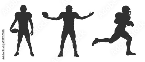 Photo Vector silhouette of american football players on white background