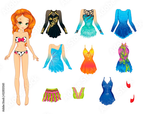 Paper Doll With Clothes For Artistic Gymnastics Fototapeta