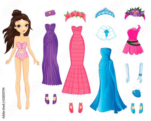 Canvastavla Cute Paper Doll With Evening Fabulous Dresses