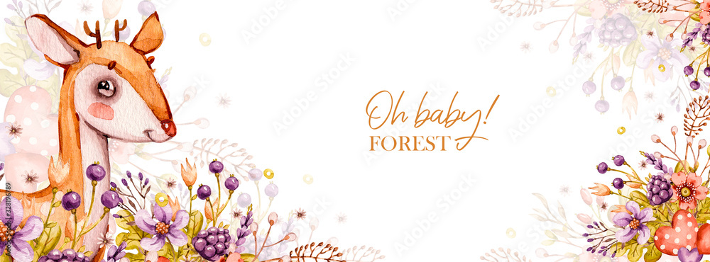 Nursery woodland banner illustration. Cartoon portrait cute baby deer animal with flowers, leaves. Bohemian boho drawing for newborn poster birthday party, baby shower cover. Forest Watercolor concept <span>plik: #328196789 | autor: UlitkaStudio</span>