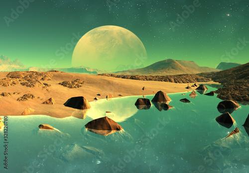 Photo 3D Rendered Fantasy Alien Landscape - 3D Illustration