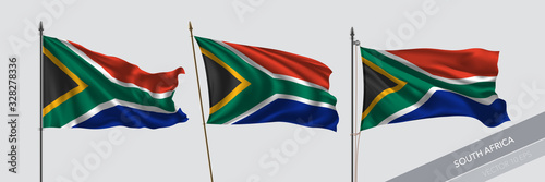 Canvas Print Set of South Africa waving flag on isolated background vector illustration