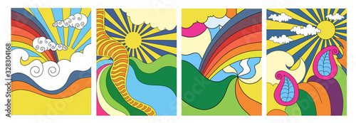 Fotografie, Obraz Set of four brightly colored stylised abstract psychedelic landscapes with the s