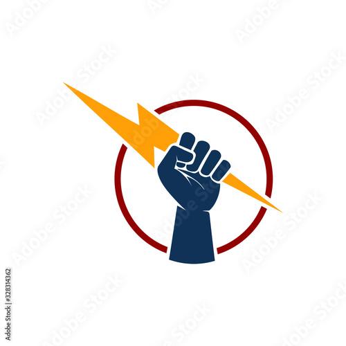 Photo Hand hold thunder logo design
