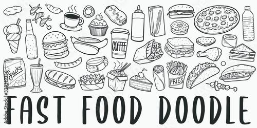 Obraz na plátně Fast Food Doodle Line Art Illustration