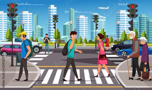 Foto City life, crosswalk and pedestrian crossing road
