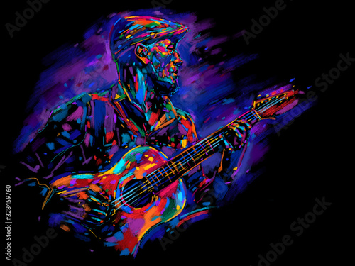 Obraz na plátně Musician with a guitar