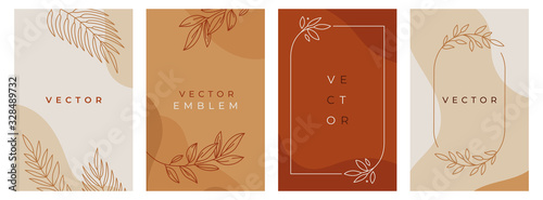Fotografie, Tablou Vector design templates in simple modern style with copy space for text, flowers