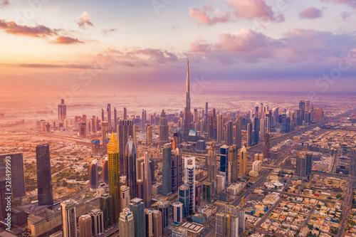 Fototapeta Aerial view of Burj Khalifa in Dubai Downtown skyline and highway, United Arab Emirates or UAE