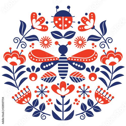 Fotografie, Tablou Scandinavian folk flowers vector design, cute spirng floral pattern with bugs, l