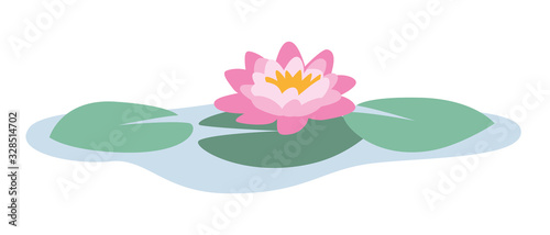 Fotografia isolated vector illustration of a beautiful pink and yellow water lily on green
