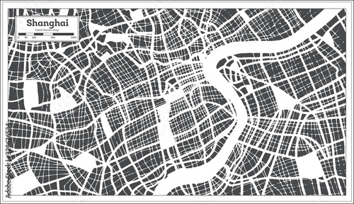 Fotografie, Obraz Shanghai China City Map in Retro Style. Outline Map.