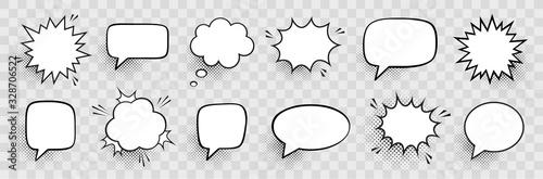 Retro empty comic speech bubbles set with black halftone shadows. Vintage design, pop art style - stock vector.