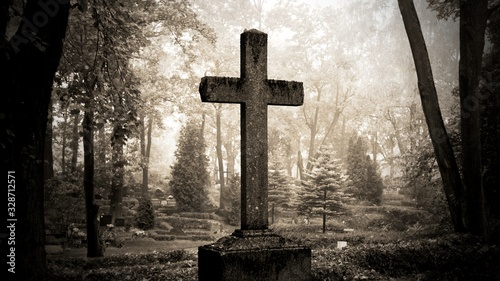 Photographie cross in fog at the cemetary