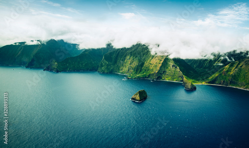 Photo Beautiful Aerial View of Tropical Island Paradise Nature Scene of Maui Hawaii On