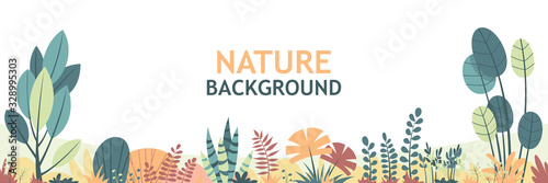 Flat nature background with copy space for text, for banner, greeting card, poster and advertising. Vector Illustrations with separate layers.
